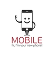 Mobile phone character vector image