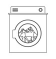 monochrome silhouette of washing machine with vector image vector image