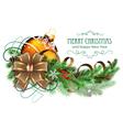 Orange Christmas ball with brown bow and fir vector image vector image