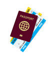 passport with tickets and boarding pass vector image