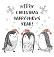 penguins in Santa hats vector image vector image