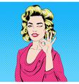 Pop Art Style Girl Gesturing Okay vector image