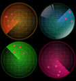 radar set with targets in process navigation hud vector image vector image