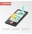 real estate landmark mobile device isometric vector image vector image
