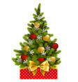 red box with christmas tree vector image vector image