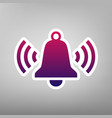 ringing bell icon purple gradient icon on vector image vector image