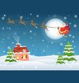 santa claus flying over vector image vector image