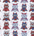 Seamless background with owls blue red gray brown vector image vector image
