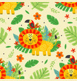seamless pattern with cute lion and parrot vector image vector image