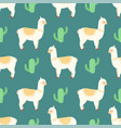 seamless pattern with lamas and cacti vector image