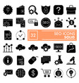 seo glyph icon set marketing symbols collection vector image vector image