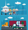 set of air cargo and transport services vector image vector image