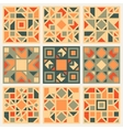 Set of Nine Geometric Square Quilt Retro vector image vector image
