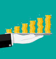 stack gold coins in tray in hand vector image