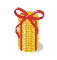 Stack of golden coins tied with red ribbon bow vector image vector image