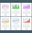 statistics charts and analytics color diagrams set vector image vector image