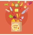 Super Sale at Grocery Conceptual Banner Paper Bag vector image