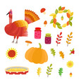 thanksgiving set collection with autumn vector image vector image
