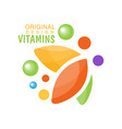 vitamins logo original design herbal supplement vector image