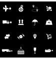 white logistic icon set vector image vector image