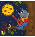 wolf at full moon plays guitar vector image