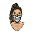 woman with tattoos scary mask vector image vector image