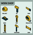 work shop color outline isometric icons vector image