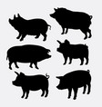 pig farm mammal animal silhouette vector image