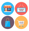 Shopping and retail flat style icons set vector image