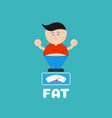 cartoon fat boy cute with weight scale vector image