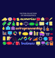 colorful infographic business economic icons set vector image