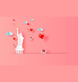 3d paper art of of red balloons heart gift vector image