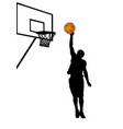basketball player silhouette on white background vector image vector image