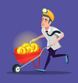 bitcoin miner with pushcart full of golden coins vector image vector image