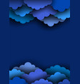 blue paper cut clouds on dark background vector image vector image