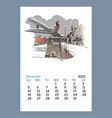 calendar sheet december month 2021 year hamburg vector image