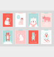 christmas card set with cute bears celebrating vector image vector image