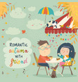couple in love on a date in cafe vector image