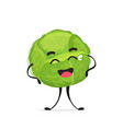 cute cabbage character cartoon mascot vegetable vector image vector image