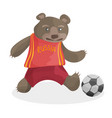 cute cartoon bear playing football in russia t vector image vector image