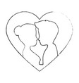 cute couple in love silhouette kissing vector image