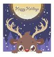 cute peeking reindeer christmas greeting vector image vector image