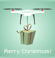 drone delivery present new year merry christmas vector image vector image