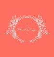 floral spring invitation frame on coral background vector image