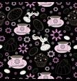 flowers cups and bird garden tea party vector image