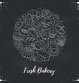 fresh bread circle poster vector image