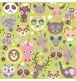 funny animals muzzle seamless pattern Green vector image vector image