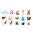 funny bugs cartoon cute insects with faces vector image vector image