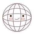 globe world cartoon kawaii in monochrome vector image vector image
