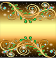golden background with jewels ornament and stars vector image vector image